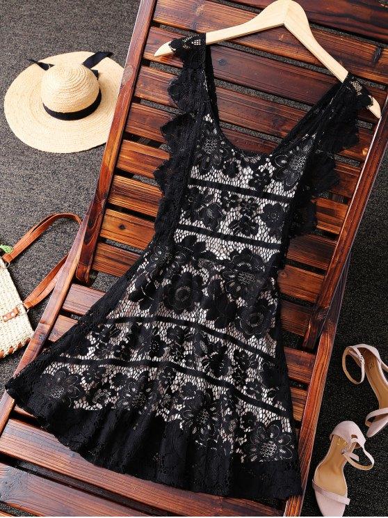 best Open Back Prom Dress - BLACK S