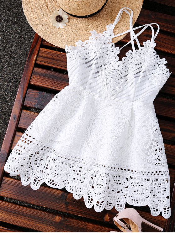 affordable Peplum Camisole Crochet Top - WHITE M