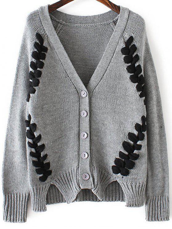 Torção trançado Pescoço V manga comprida Cardigan - Cinzento Um Tamanho
