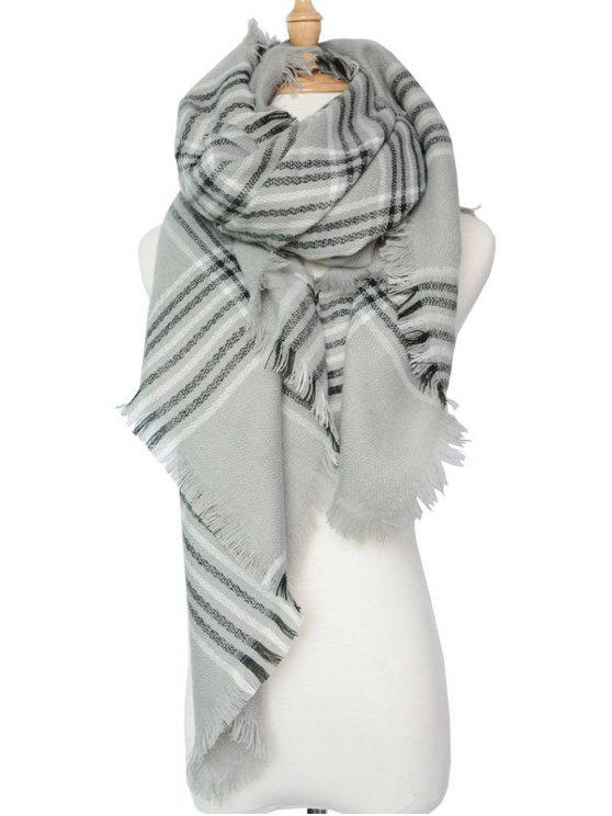 womens Plaid Pattern Shawl Scarf - GRAY