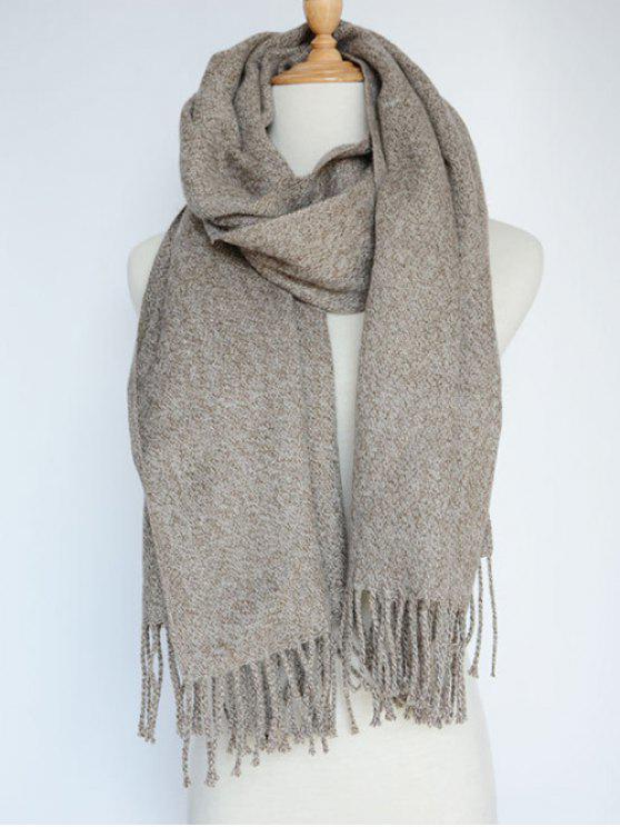 women's Tassel Knitted Wrap Scarf - CAMEL
