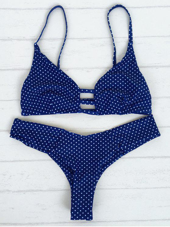 fancy Polka Dot Strappy Bikini Set - BLUE M
