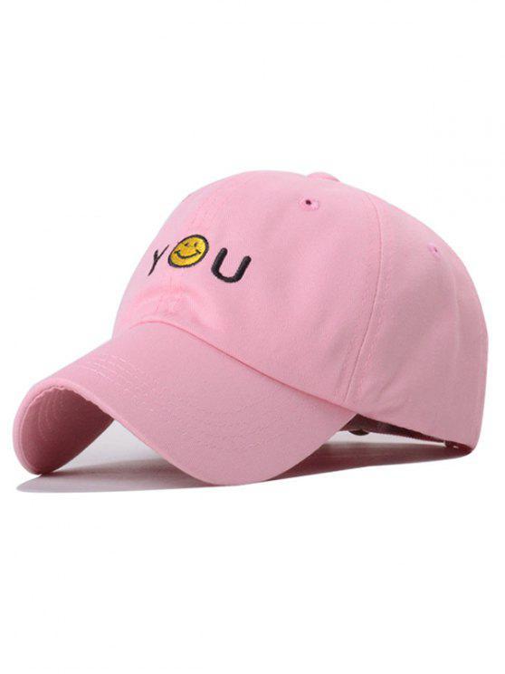 Smiley del sombrero del bordado del béisbol - Rosa