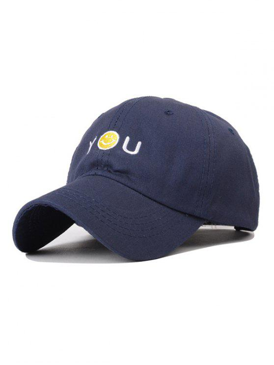 latest Smiley Embroidery Baseball Hat - CADETBLUE