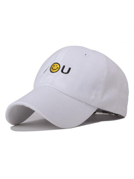 trendy Smiley Embroidery Baseball Hat - WHITE