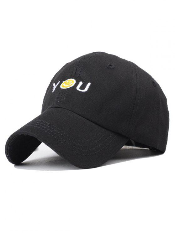 Smiley del sombrero del bordado del béisbol - Negro