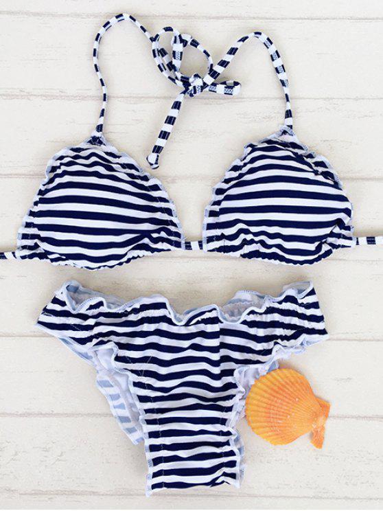 ladies Stringy Selvedge Bikini Set - BLUE AND WHITE M