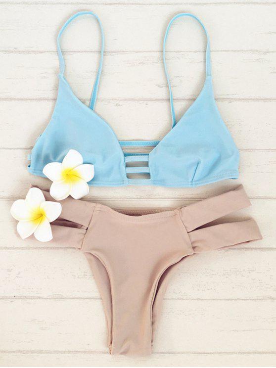 fancy Double Strap Bikini Set - BLUE S