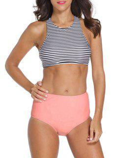 Striped High Neck High Waisted Tankini - Stripe M