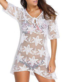 Hollow Out V Neck Cover Up Dress - White M
