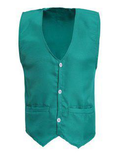 V-Neck Solid Color Serration Lower Hem Waistcoat For Men - Green 3xl