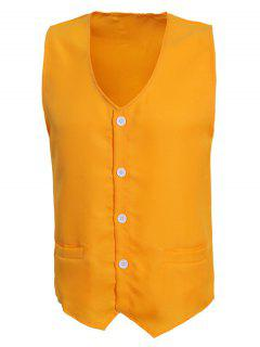 V-Neck Solid Color Serration Lower Hem Waistcoat For Men - Yellow 2xl