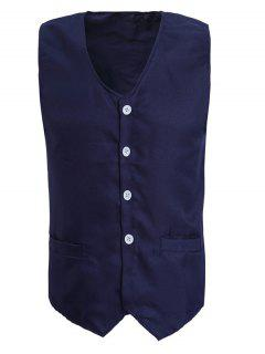 V-Neck Solid Color Serration Lower Hem Waistcoat For Men - Cadetblue L