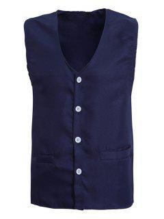 V-Neck Solide Couleur Unique Poitrine Design Waistcoat Pour Les Hommes - Bleu Cadette M