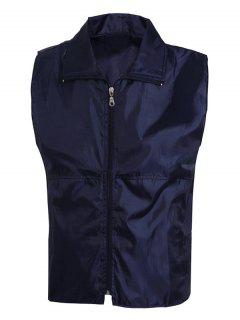 Solid Color Zip-Up Turn-Down Collar Waistcoat For Men - Cadetblue M