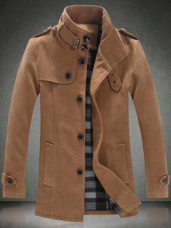 Elegant Stand Collar Slim Single Breasted Wool Overcoat For Men - Khaki 4xl