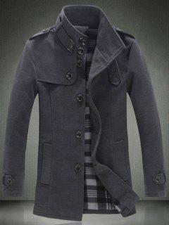 Elegant Stand Collar Slim Single Breasted Wool Overcoat For Men - Gray 5xl