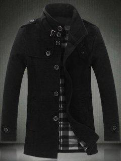 Elegant Stand Collar Slim Single Breasted Wool Overcoat For Men - Black 2xl