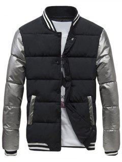 Varsity Snap Button Color Spliced Padded Coat For Men - Black L