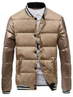 Varsity Snap Button Color Spliced Padded Coat For Men - Apricot 3xl