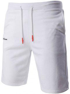 Casual Letter Embroidered Drawstring Waistband Shorts For Men - White L