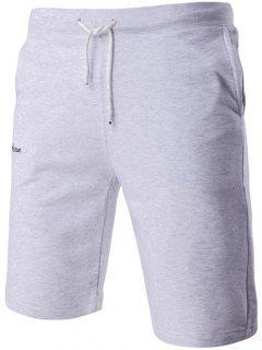 Casuales De La Letra Bordada Con Cordón De La Pretina De Pantalones Cortos Para Los Hombres - Gris M