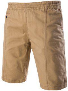 Fahsionable Pockets Design Stretch Waistband Casual Shorts For Men - Khaki 2xl