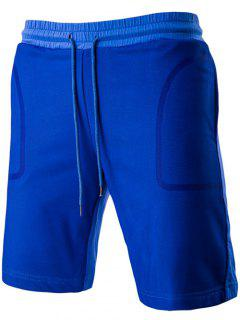 Brief Style Transparent Pocket Design Drawstring Waistband Shorts For Men - Sapphire Blue 2xl