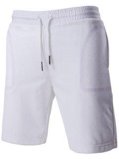 Brief Style Transparent Pocket Design Drawstring Waistband Shorts For Men - White M