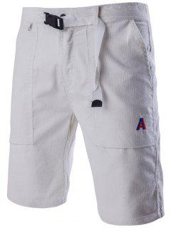 Novelty Drawstring Waistband Design Casual Corduroy Shorts For Men - White M