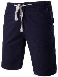 Moda Faux-Bolsillos Diseño Del Lazo De La Pretina De Pantalones Cortos Para Los Hombres - Azul Marino  Xl