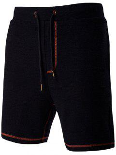 Casual Drawstring Waistband Design Black Shorts For Men - Black L