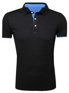 Classic Turn-Down Collar Short Sleeve Polo T-Shirt For Men - Black L