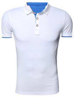 Classic Turn-Down Collar Short Sleeve Polo T-Shirt For Men - White L