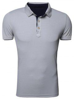 Classic Turn-Down Collar Short Sleeve Polo T-Shirt For Men - Gray Xl