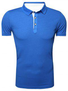 Classic Turn-Down Collar Short Sleeve Polo T-Shirt For Men - Blue L