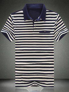 El Collar Elegante Del Polo De Manga Corta A Rayas Del Bloque Del Color De La Camiseta Para Los Hombres - Azul Purpúreo L