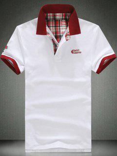 Elegant Slim Polo Collar Short Sleeve Color Block T-Shirt For Men - White M