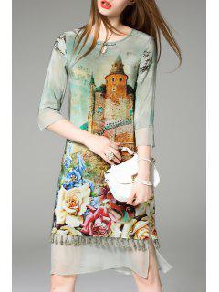 Printed Tassel Trim Silk Dress - Green S