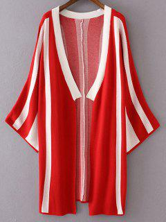 Striped Long Sleeve Thin Cardigan - Red