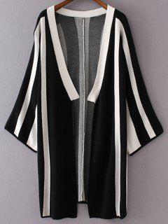 Striped Long Sleeve Thin Cardigan - Black