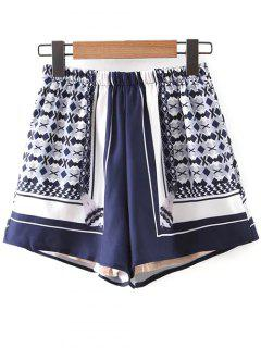 Print Elastic Waist Shorts - Blue And White Xs