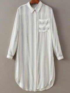 Striped Long Sleeve Pocket Shirt Dress - White S