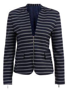 Striepd Long Sleeve Zipper Blazer - Deep Blue L