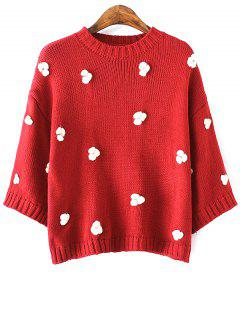 Applique Round Neck Batwing Sleeve Sweater - Red