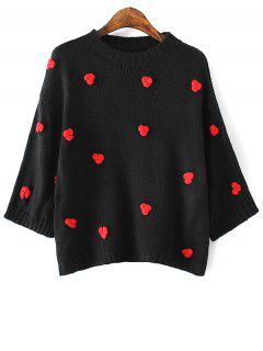 Applique Round Neck Batwing Sleeve Sweater - Black