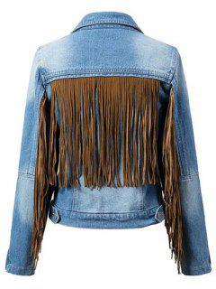 Glands Shirt épissage Collar Veste En Jean - Bleu S