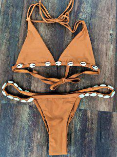 Solid Color With Shell Halter Bikini Set - Wheat S