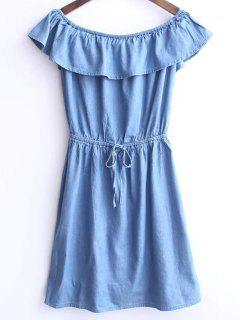Solid Color Boat Neck Drawstring Dress - Light Blue S