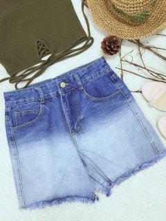 Pantalones Cortos De Talle Alto Ombre Denim - Azul M